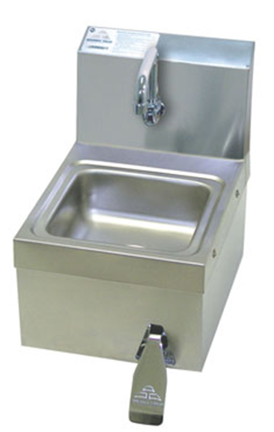 "Advance Tabco 7-PS-63 Wall Hand Sink - 9x9x5"" Bowl, Splash Mount Faucet, Flat-Top Strainer"