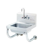 "Advance Tabco 7-PS-64 Wall Hand Sink - 14x10x5"" Bowl, Splash Mount Gooseneck, Basket Drain"