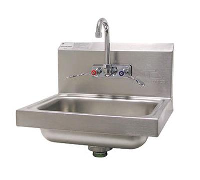 "Advance Tabco 7-PS-68 Wall Hand Sink - 14x10x5"" Bowl, Splash Mount Faucet, Wrist Blades, Basket Drain"