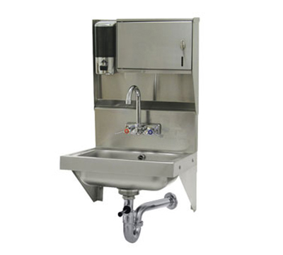 "Advance Tabco 7-PS-69 Wall Hand Sink - 14x10x5"" Bowl, Splash Mount Faucet, Wrist Handles, Lever Drain"