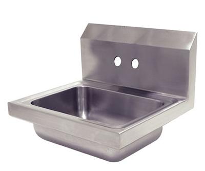 "Advance Tabco 7-PS-70-EC Wall Economy Hand Sink - 14x10x5"" Bowl, 4"" OC Splash Faucet Holes, Basket Drain"