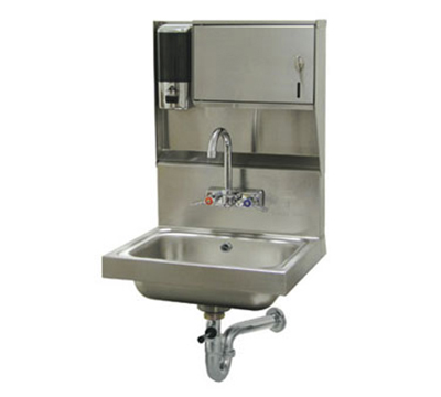"Advance Tabco 7-PS-80 Wall Hand Sink - 14x10x5"" Bowl, Splash Mount Faucet, Lever Drain, P-Trap"