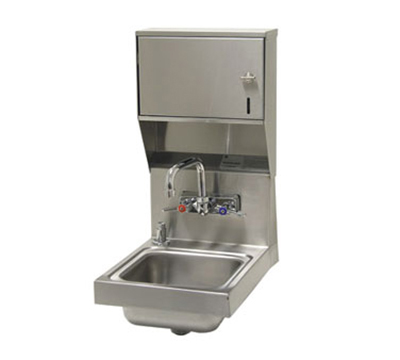 "Advance Tabco 7-PS-84 Wall Hand Sink - 9x9x5"" Bowl, Splash Mount Faucet, Flat Top Strainer"