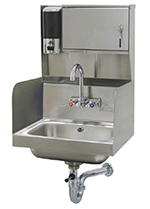 "Advance Tabco 7-PS-87 Wall Hand Sink - 14x10x5"" Bowl, Splash Mount Faucet, Skirt, Lever Drain"