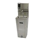 "Advance Tabco 7-PS-95 Hand Sink - Pedestal Base, 14x10x5"" Bowl, Splash Mount Faucet, Soap, Towel Dispenser"
