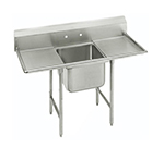 "Advance Tabco T9-1-24-18RL 54"" Sink - (1) 20x16x12"" Bowl, (2) 18"" Drainboard, Galvanized Frame"