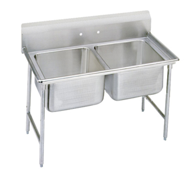 "Advance Tabco 9-2-36 Sink - (2) 20x16x12"" Bowl, 8"" Splash, 18-ga 304-Stainless"