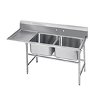 "Advance Tabco 9-2-36-24L 64"" 2-Compartment Sink w/ 16""L x 20""W Bowl, 12"" Deep"