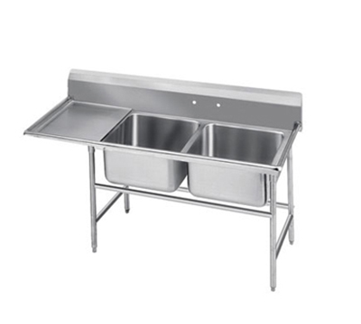 Advance Tabco T9-2-36-18L 58-in Sink w/ (2) 20x16x12-in Bowl & 18-in L Drainboard, Galvanized Frame