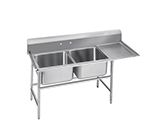 "Advance Tabco 9-22-40-36R Sink - (2) 20x20x12"" Bowl, 36"" Right Drainboard, 18-ga 304-Stainless"