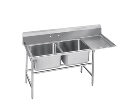 "Advance Tabco 9-2-36-24R 64"" 2-Compartment Sink w/ 16""L x 20""W Bowl, 12"" Deep"
