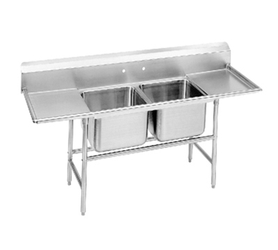 "Advance Tabco 94-42-48-24RL Sink - (2) 24x24x14"" Bowl, 24"" L-R Drainboard, 14-ga 304-Stainless"