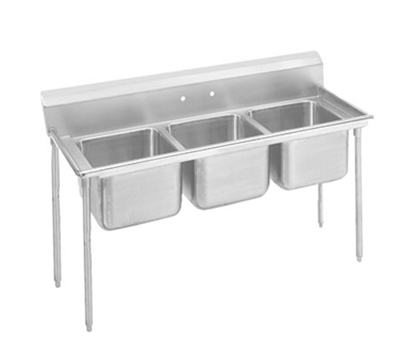 "Advance Tabco 9-43-72 Sink - (3) 24x24x12"" Bowl, 8"" Splash, 18-ga 304-Stainless"