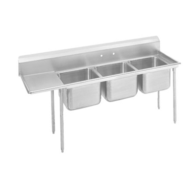 "Advance Tabco 93-3-54-24L Sink - (3) 20x16x12"" Bowl, 24"" Left Drainboard, 16-ga 304-Stainless"