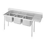 "Advance Tabco 93-23-60-24R Sink - (3) 20x20x12"" Bowl, 24"" Right Drainboard, 16-ga 304-Stainless"
