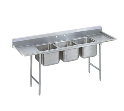 "Advance Tabco 93-3-54-24RL Sink - (3) 20x16x12"" Bowl, 24"" L-R Drainboard, 16-ga 304-Stainless"