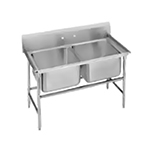 "Advance Tabco T9-2-36 44"" Sink - (2) 20x16x12"" Bowl, Galvanized Frame"