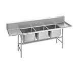 "Advance Tabco 94-3-54-18RL 91"" 3-Compartment Sink w/ 16""L x 20""W Bowl, 14"" Deep"