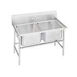 "Advance Tabco 94-42-48 Sink - (2) 24x24x14"" Bowl, 11"" Splash, 14-ga 304-Stainless"