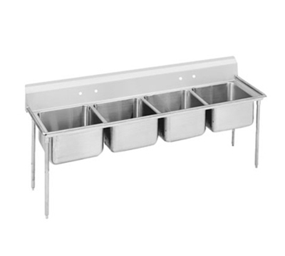 "Advance Tabco 9-84-80 Sink - (4) 28x20x12"" Bowl, 8"" Splash, 18-ga 304-Stainless"