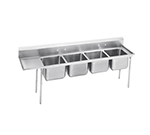 "Advance Tabco 93-24-80-18L Sink - (4) 20x20x12"" Bowl, 18"" Left Drainboard, 16-ga 304-Stainless"