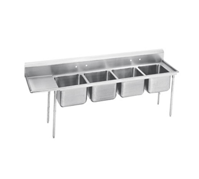 "Advance Tabco 93-4-72-18L 95"" 4-Compartment Sink w/ 16""L x 20""W Bowl, 12"" Deep"