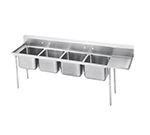 "Advance Tabco 9-24-80-36R Sink - (4) 20x20x12"" Bowl, 36"" Right Drainboard, 18-ga 304-Stainless"