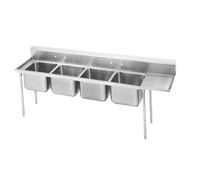 "Advance Tabco 9-4-72-18R Sink - (4) 24x18x14"" Bowl, 18"" Right Drainboard, 18-ga 304-Stainless"