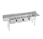 "Advance Tabco 93-84-80-18RL Sink - (4) 28x20x12"" Bowl, 18"" L-R Drainboard, 16-ga 304-Stainless"