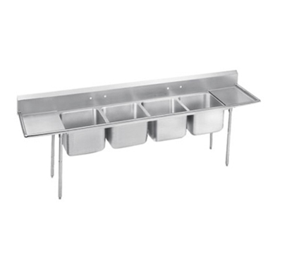 "Advance Tabco 9-24-80-18RL Sink - (4) 20x20x12"" Bowl, 18"" L-R Drainboard, 18-ga 304-Stainless"