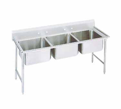 "Advance Tabco 94-3-54 Sink - (3) 20x16x14"" Bowl, 11"" Splash, 14-ga 304-Stainless"
