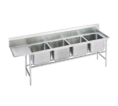 "Advance Tabco 94-44-96-36L Sink - (4) 24x24x14"" Bowl, 36"" Left Drainboard, 14-ga 304-Stainless"