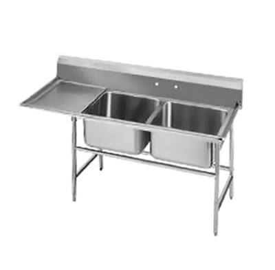 "Advance Tabco 94-62-36-18L Sink - (2) 24x18x14"" Bowl, 18"" Left Drainboard, 14-ga 304-Stainless"