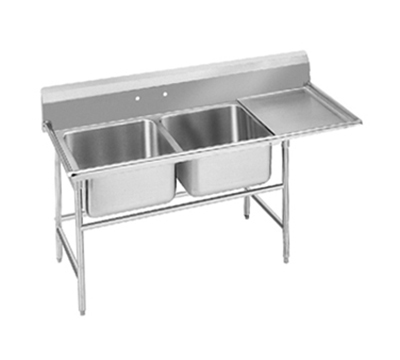 "Advance Tabco 94-62-36-18R 62"" 2-Compartment Sink w/ 18""L x 24""W Bowl, 14"" Deep"