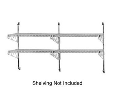 "Advance Tabco ABM2-14 34"" Mid Mount Shelving Post - 2-Tier, (4)14"" Shelf Brackets, Chrome"
