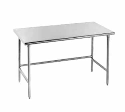"Advance Tabco TSAG-2410 120"" 16-ga Work Table w/ Open Base & 430-Series Stainless Flat Top"