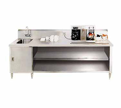 "Advance Tabco BEV-30-120L 120"" Beverage Table - Left Side Sink, Faucet, 14-ga 304-Stainless"