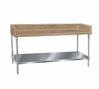 "Advance Tabco BG-367 Bakers Top Work Table - 4"" Splash, Adjustable Undershelf, 36x84"
