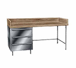 "Advance Tabco BST-308 Bakers Top Work Table - 4"" Splash, 3-Drawers Tiers, Bullet Feet, 30x96"
