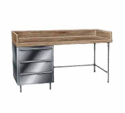 "Advance Tabco BST-364 Bakers Top Work Table - 4"" Splash, 3-Drawers Tiers, Bullet Feet, 36x48"