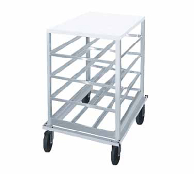 Advance Tabco CRPL10-72 Low Profile Mobile Can Rack for #10, #5 - 72-Can Capacity, Poly Top, Aluminum