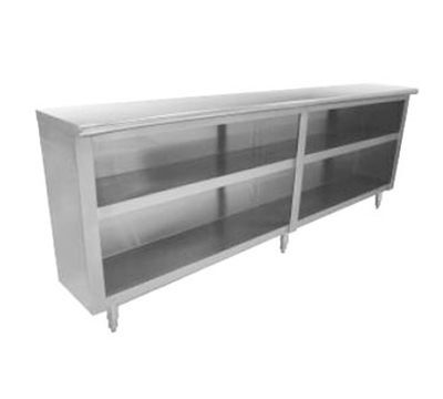 "Advance Tabco DC-1810 Chefs Table Dish Cabinet - Open Base, Midshelf, 120x18x35.5"", Stainless"