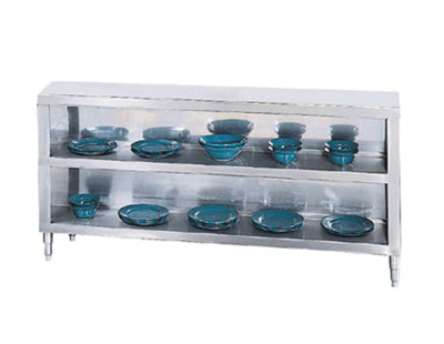 "Advance Tabco DC-188 Chefs Table Dish Cabinet - Open Base, Midshelf, 96x35.5"", Stainless"