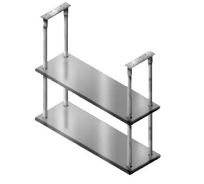 "Advance Tabco DCM-18-72 Ceiling Mount Shelf - Double Deck, 5-lb Load Capacity, 18x72"", Stainless"