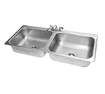"Advance Tabco DI-2-208 Drop-In Sink - (2) 20x16x8"" Bowl, Deck Mount Swing Spout, 18-ga 304 Stainless"