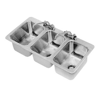 "Advance Tabco DI-3-10 Drop-In Sink - (3) 10x14x10"" Bowl, Deck Mount Swing Spout, 18-ga 304 Stainless"
