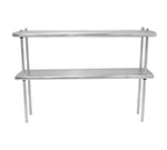 "Advance Tabco DS-10-132 Table Mount Shelf - Double Deck, 10x132"", 18-ga 430-Stainless"