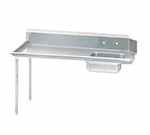 "Advance Tabco DTS-S60-144L 143"" L-R Straight Soil Table - 10.5"" Backsplash, Galvanized Legs, 14-ga 304-Stainless"