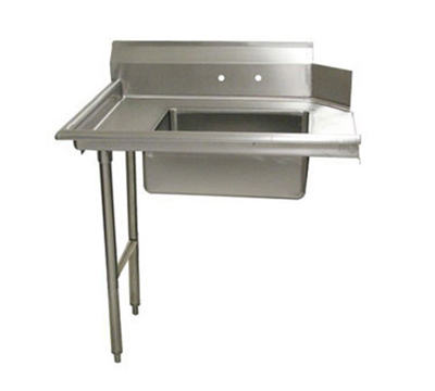 "Advance Tabco DTS-S70-48L 48"" L-R Straight Soil Dishtable - 10.5"" Backsplash, Stainless Legs, 16-ga Stainless"