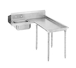 "Advance Tabco DTS-G60-96R 95"" R-L Island Soil Dishtable - 10.5"" Backsplash, Galvanized Legs, 14-ga Stainless"